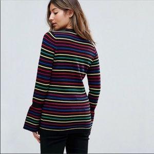 ASOS Rainbow Stripe Bell Sleeve Pullover Sweater